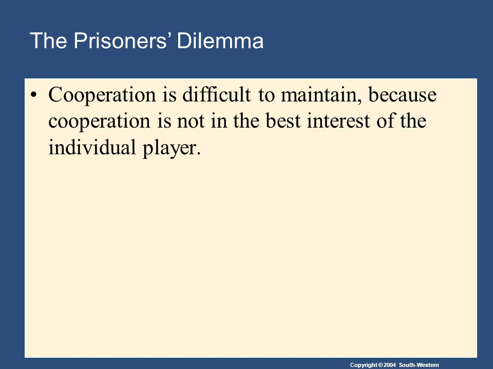 Copyright © 2004 South-Western The Prisoners' Dilemma Cooperation is difficult to maintain, because cooperation is not in the best interest of the individual player.
