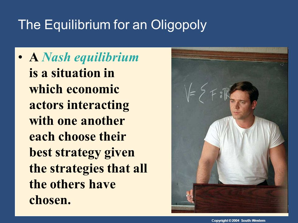 Copyright © 2004 South-Western The Equilibrium for an Oligopoly A Nash equilibrium is a situation in which economic actors interacting with one another each choose their best strategy given the strategies that all the others have chosen.