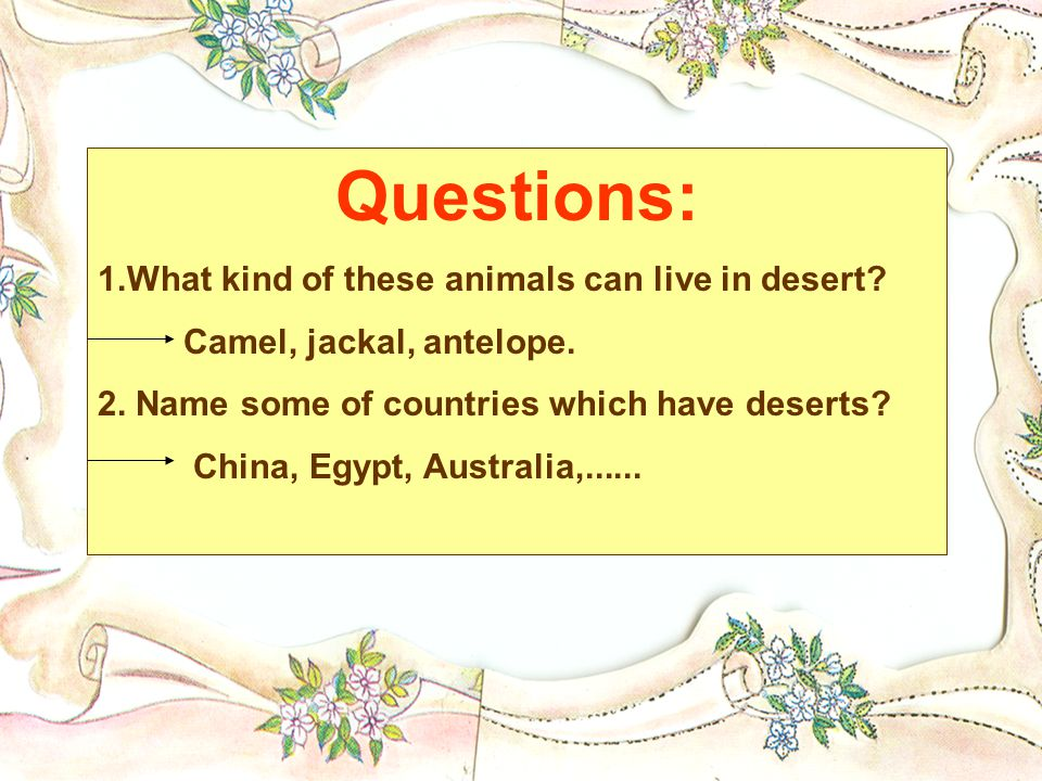Questions: 1.What kind of these animals can live in desert.