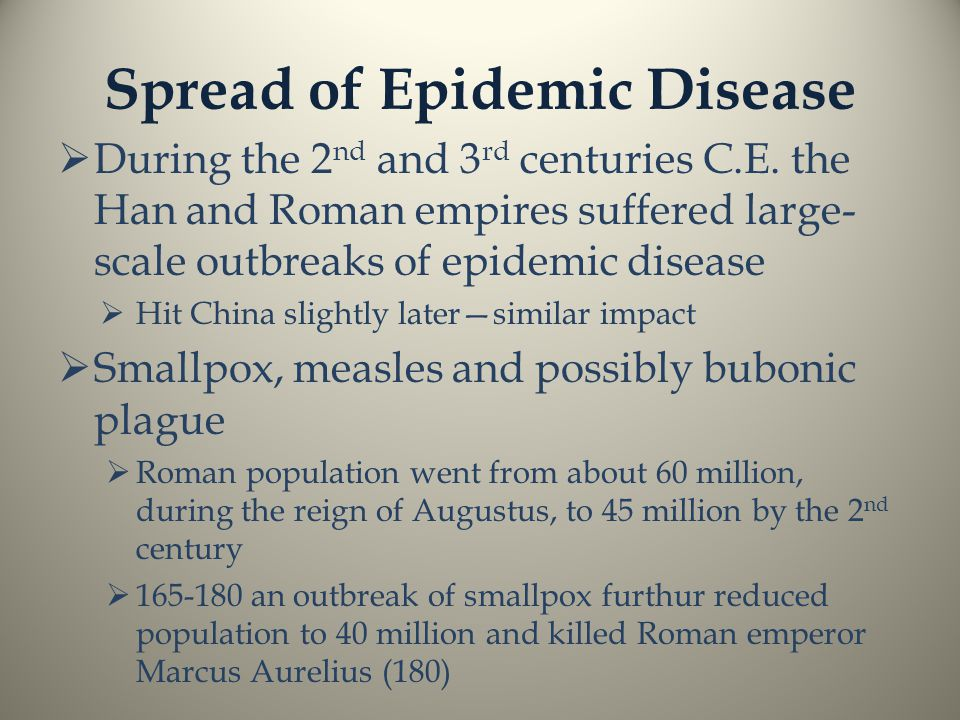 Spread of Epidemic Disease  During the 2 nd and 3 rd centuries C.E.