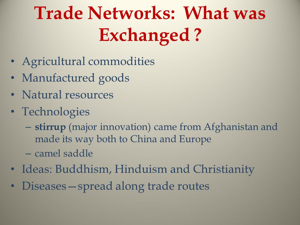 Trade Networks: What was Exchanged .