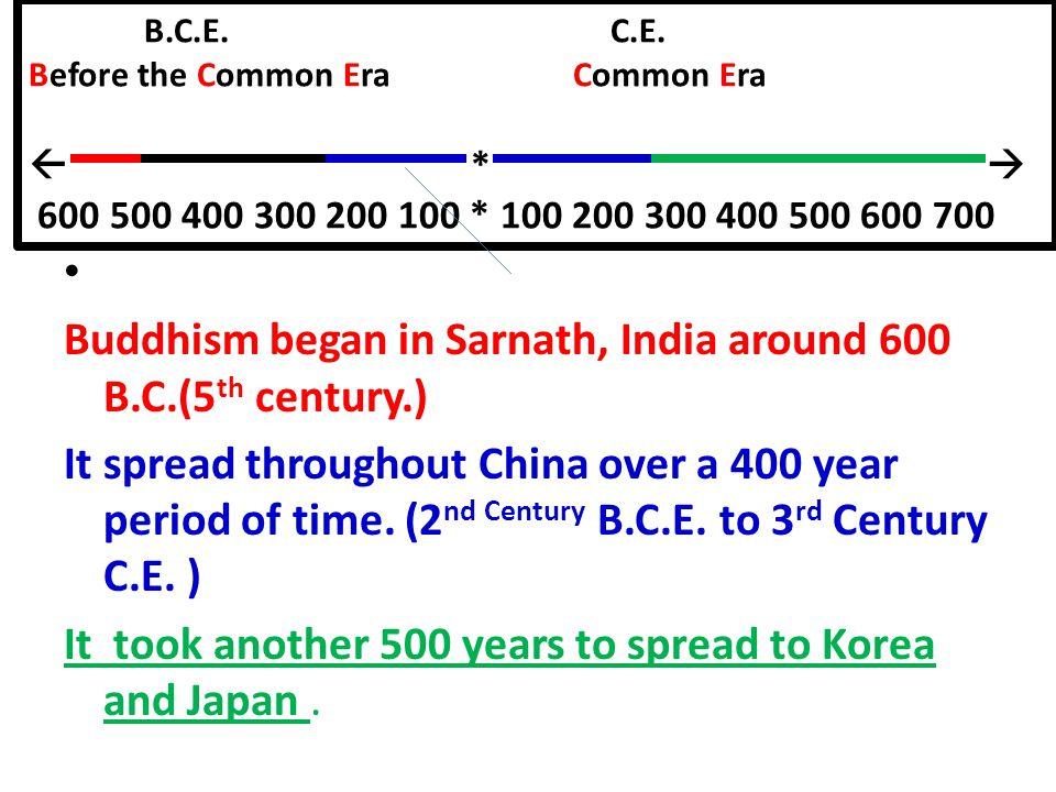B.C.E. C.E. Before the Common Era Common Era  *  600 500 400 300 200 100 * 100 200 300 400 500 600 700 Buddhism began in Sarnath, India around 600 B