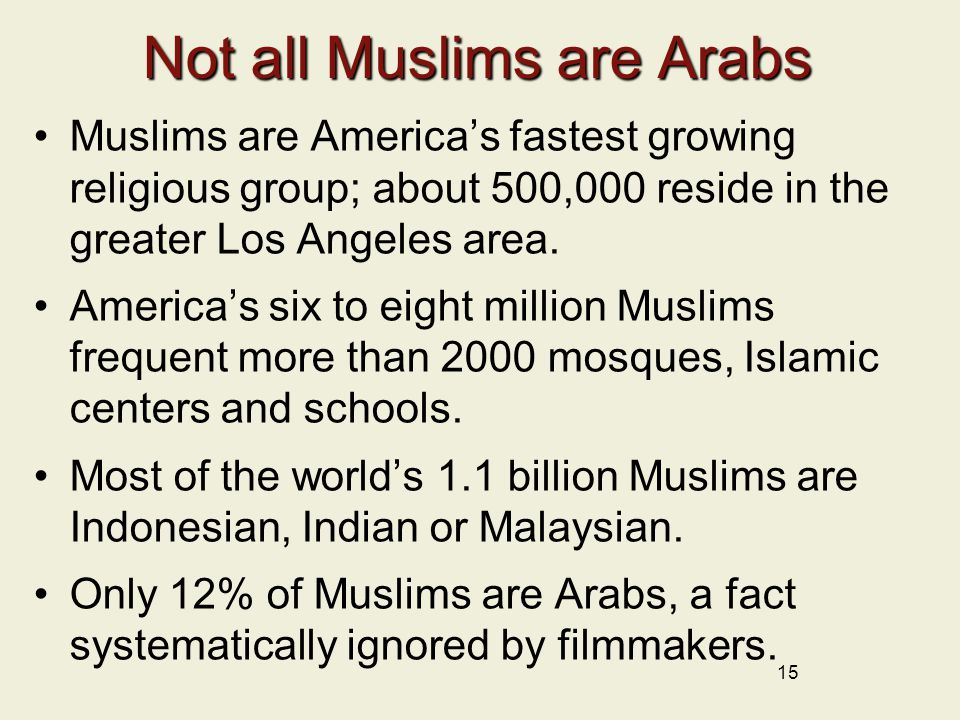 Not all Muslims are Arabs Muslims are America's fastest growing religious group; about 500,000 reside in the greater Los Angeles area.