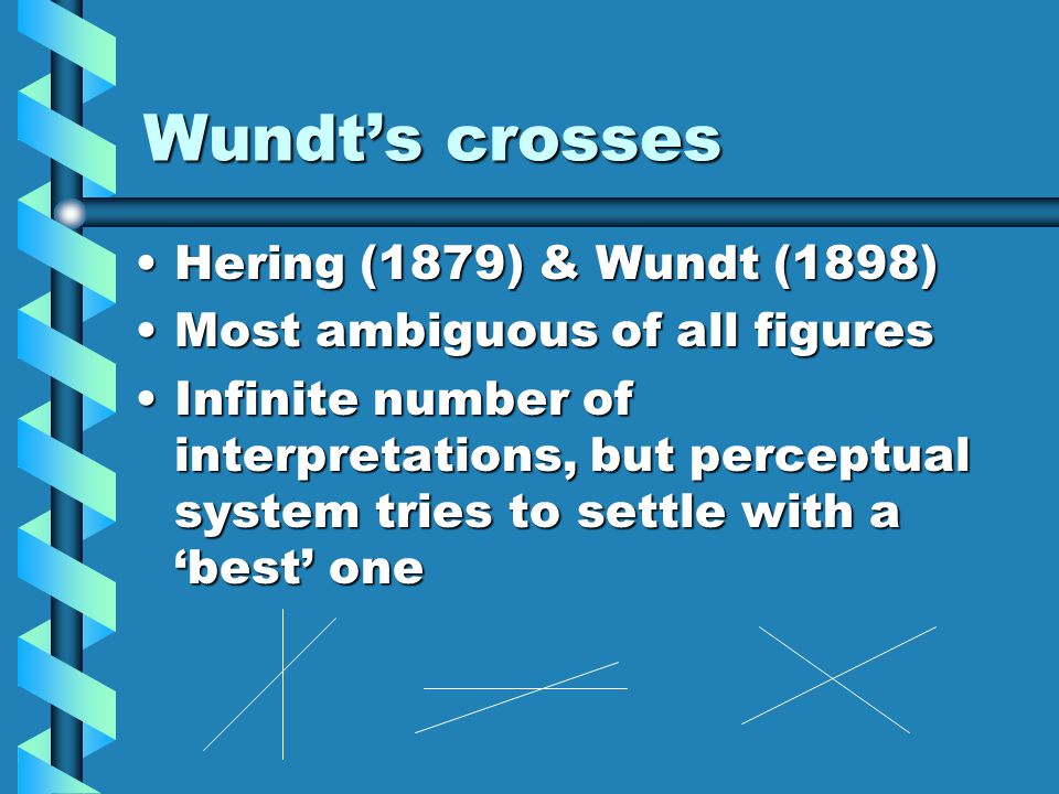 Wundt's crosses Hering (1879) & Wundt (1898)Hering (1879) & Wundt (1898) Most ambiguous of all figuresMost ambiguous of all figures Infinite number of interpretations, but perceptual system tries to settle with a 'best' oneInfinite number of interpretations, but perceptual system tries to settle with a 'best' one