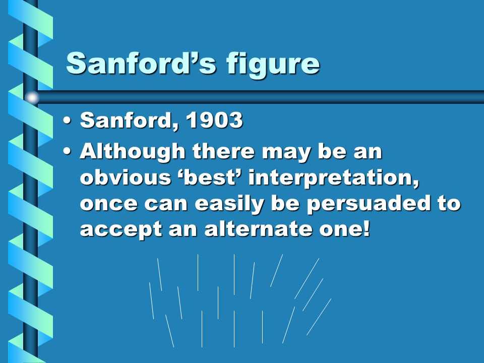 Sanford's figure Sanford, 1903Sanford, 1903 Although there may be an obvious 'best' interpretation, once can easily be persuaded to accept an alternate one!Although there may be an obvious 'best' interpretation, once can easily be persuaded to accept an alternate one!