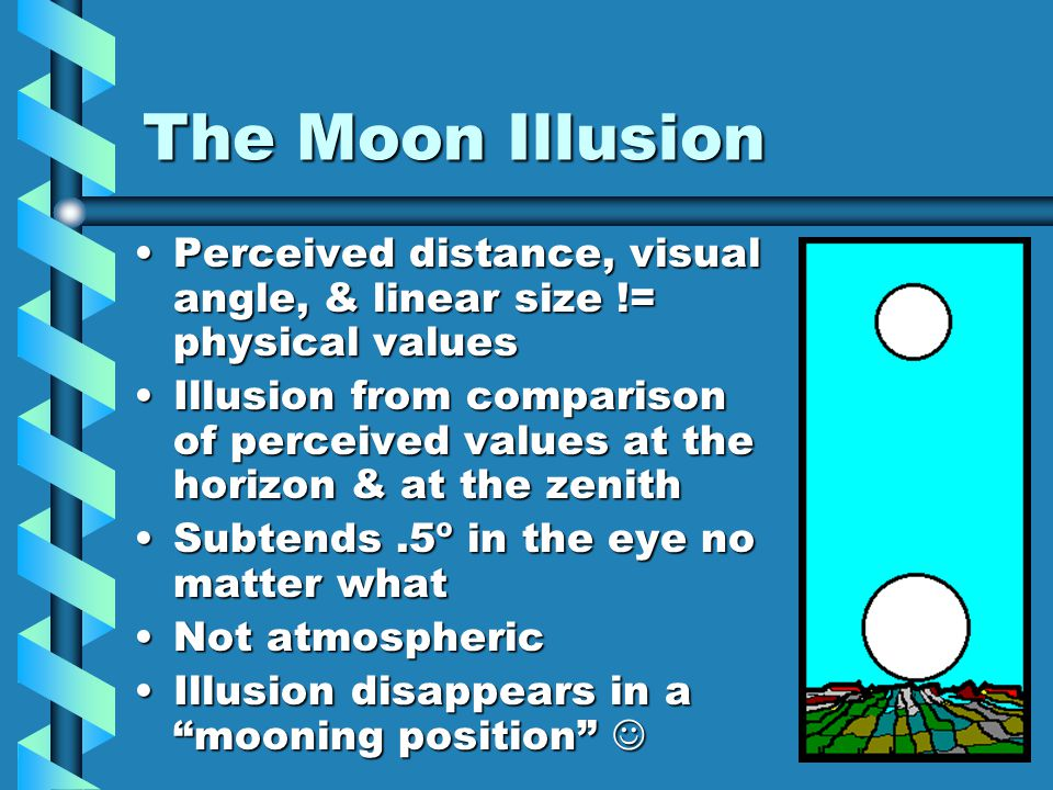 The Moon Illusion Perceived distance, visual angle, & linear size != physical valuesPerceived distance, visual angle, & linear size != physical values Illusion from comparison of perceived values at the horizon & at the zenithIllusion from comparison of perceived values at the horizon & at the zenith Subtends.5º in the eye no matter whatSubtends.5º in the eye no matter what Not atmosphericNot atmospheric Illusion disappears in a mooning position Illusion disappears in a mooning position