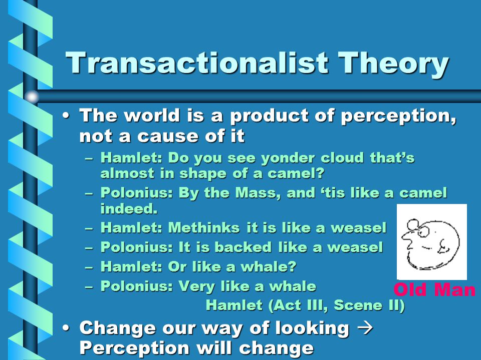 Transactionalist Theory The world is a product of perception, not a cause of itThe world is a product of perception, not a cause of it –Hamlet: Do you see yonder cloud that's almost in shape of a camel.