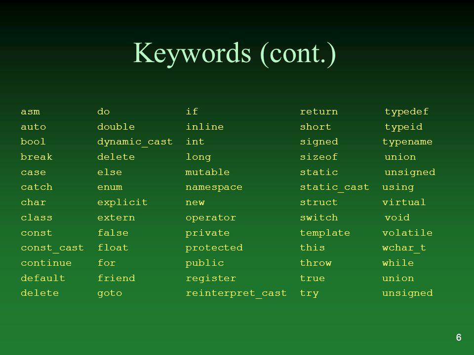 Keywords (cont.) asm do if return typedef auto double inline short typeid bool dynamic_cast int signed typename break delete long sizeof union case el
