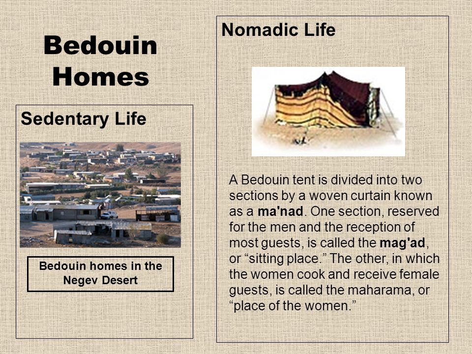 Bedouin Homes Sedentary Life Nomadic Life Bedouin homes in the Negev Desert A Bedouin tent is divided into two sections by a woven curtain known as a