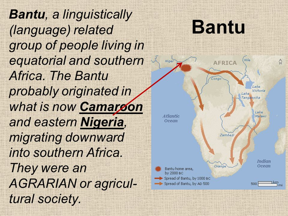Bantu Bantu, a linguistically (language) related group of people living in equatorial and southern Africa. The Bantu probably originated in what is no