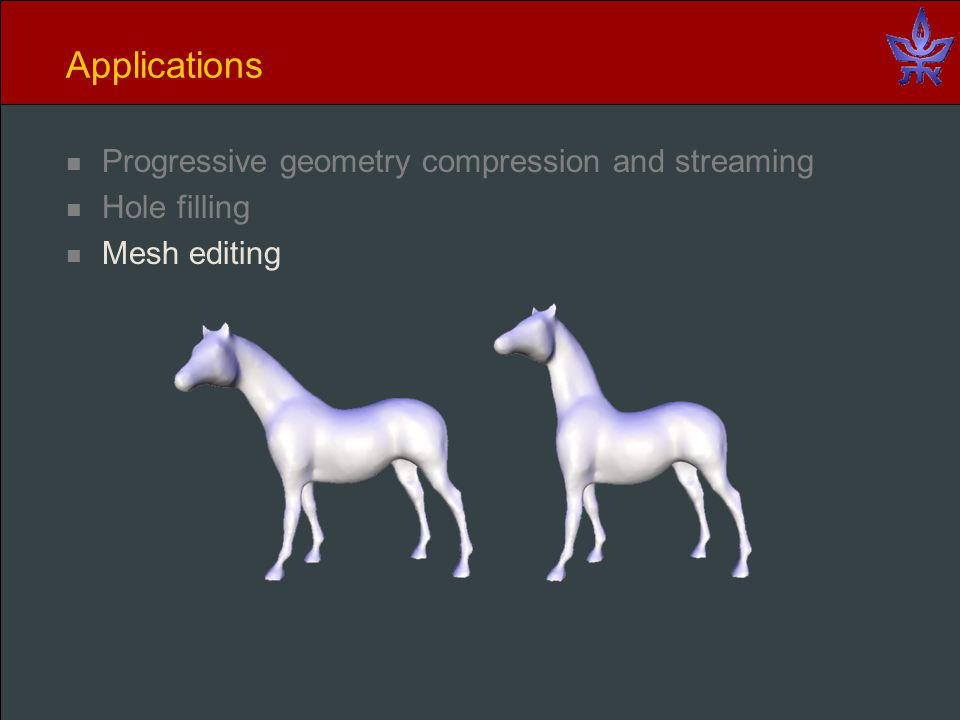 Applications Progressive geometry compression and streaming Hole filling Mesh editing