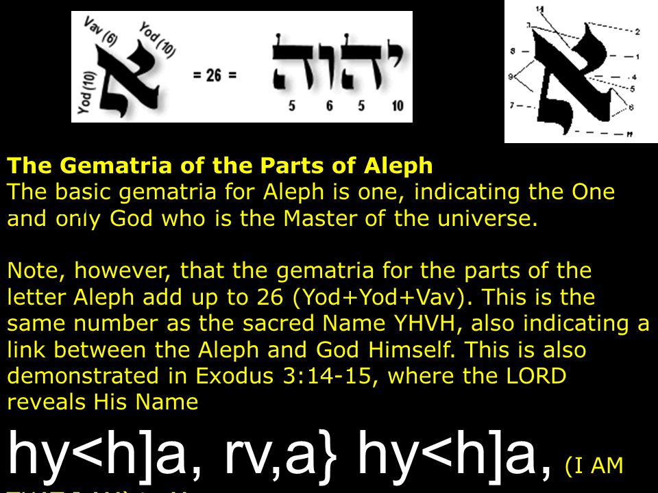 The Gematria of the Parts of Aleph The basic gematria for Aleph is one, indicating the One and only God who is the Master of the universe. Note, howev