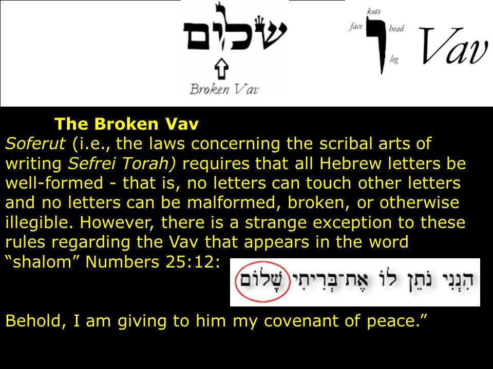 The Broken Vav Soferut (i.e., the laws concerning the scribal arts of writing Sefrei Torah) requires that all Hebrew letters be well-formed - that is,