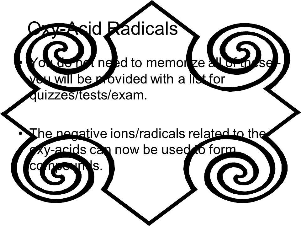 Oxy-Acid Radicals You do not need to memorize all of these - you will be provided with a list for quizzes/tests/exam. The negative ions/radicals relat