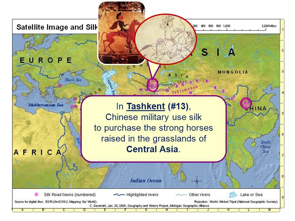 In Tashkent (#13), Chinese military use silk to purchase the strong horses raised in the grasslands of Central Asia.