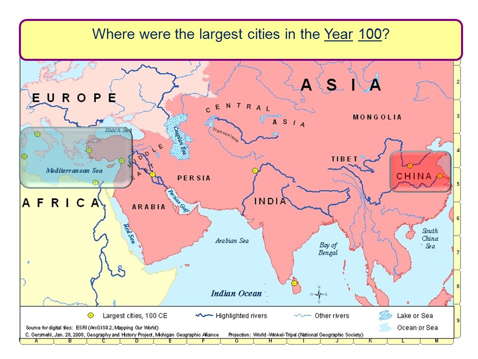 Where were the largest cities in the Year 100