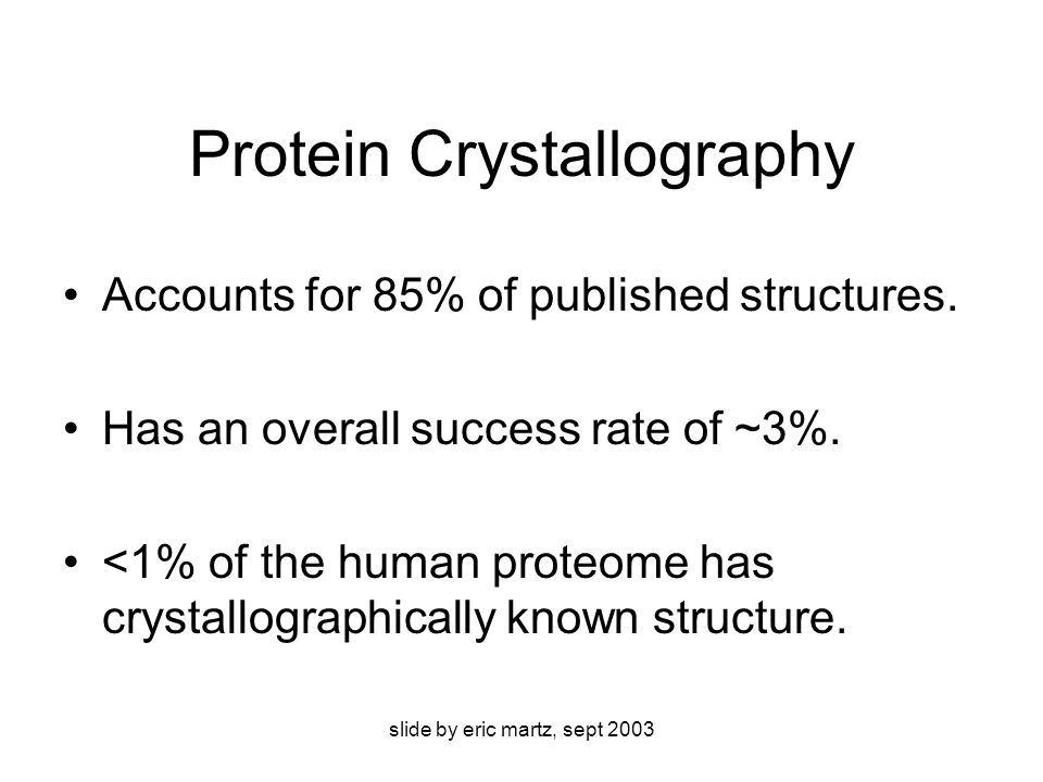 slide by eric martz, sept 2003 First crystal structures without big surprises (less impact) DNA double helix (1973-80): predicted correctly in 1953.