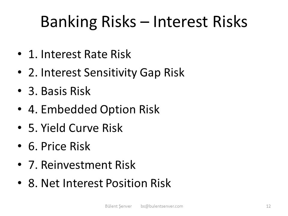 """Banking Risks – Interest Risk Interest Risk: """"The risk of making losses by a bank due to the changes in Interest Income and/or Interest Expense of the"""