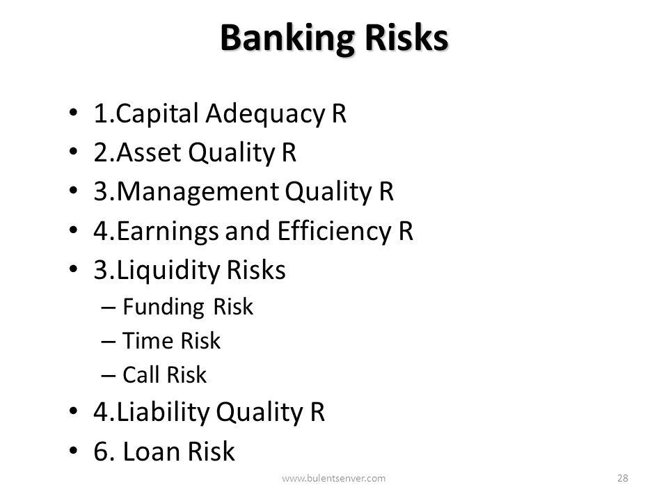 www.bulentsenver.com27 Banka CAMEL OS Risks CAMEL-OS Management Qaulity R Asset Quality R Capital Adequacy R Liquidity R Earnings Efficiency R Sensiti