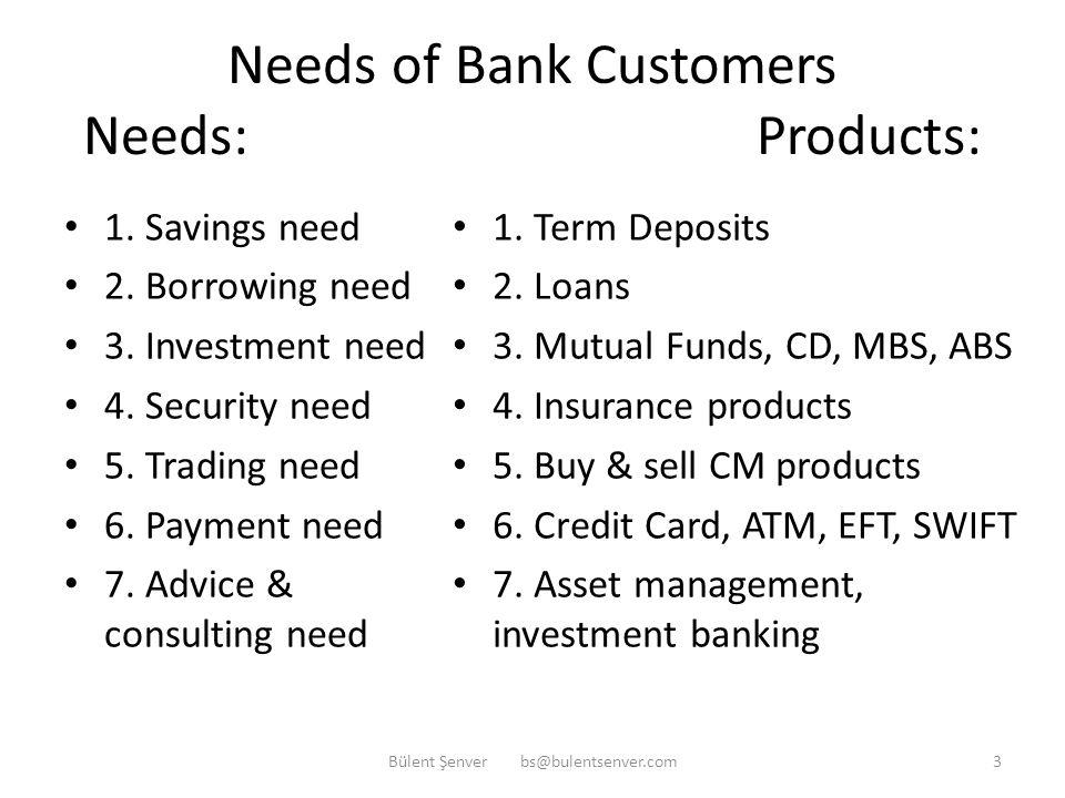 Bank Intermediation services Intermediation: 1. Denomination 2. Currency 3. Maturity 4. Interest Rate 5. Interest Sensitivity 6. Security 7. Credit Ri