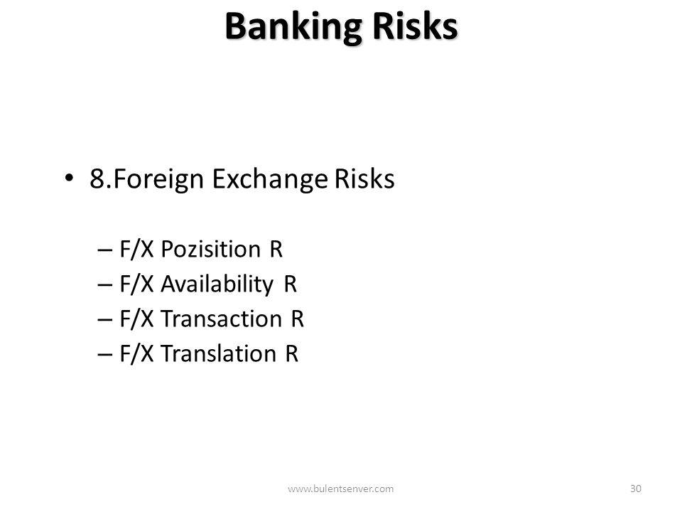 www.bulentsenver.com29 Banking Risks 7. Interest Risks – Rate Sensitivity Gap or Mismatch Rsk – Yield Curve Rsk – Embedded Options Rsk – Pricing Risk