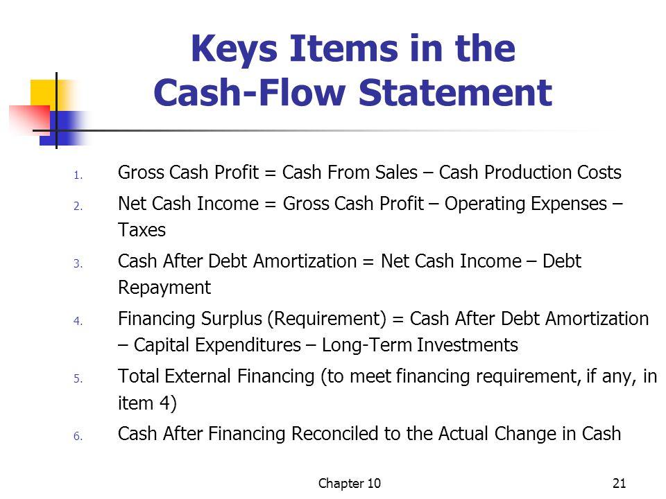Chapter 1021 Keys Items in the Cash-Flow Statement 1. Gross Cash Profit = Cash From Sales – Cash Production Costs 2. Net Cash Income = Gross Cash Prof