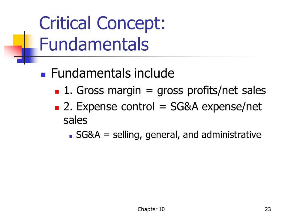 Chapter 1023 Critical Concept: Fundamentals Fundamentals include 1. Gross margin = gross profits/net sales 2. Expense control = SG&A expense/net sales