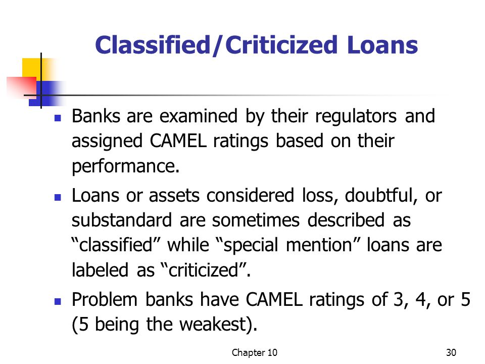 Chapter 1030 Classified/Criticized Loans Banks are examined by their regulators and assigned CAMEL ratings based on their performance. Loans or assets