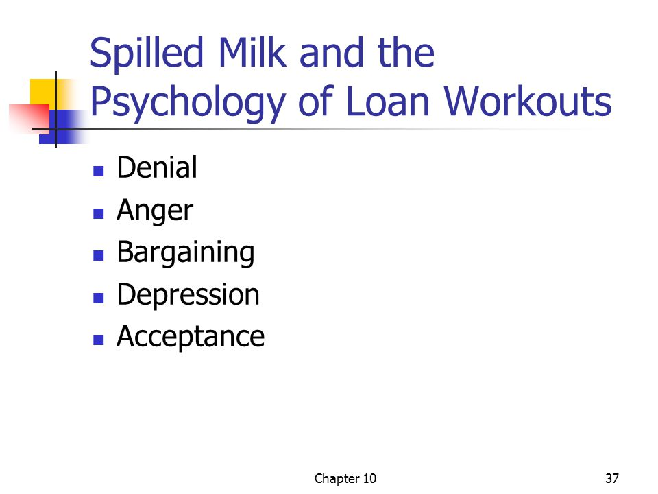 Chapter 1037 Spilled Milk and the Psychology of Loan Workouts Denial Anger Bargaining Depression Acceptance