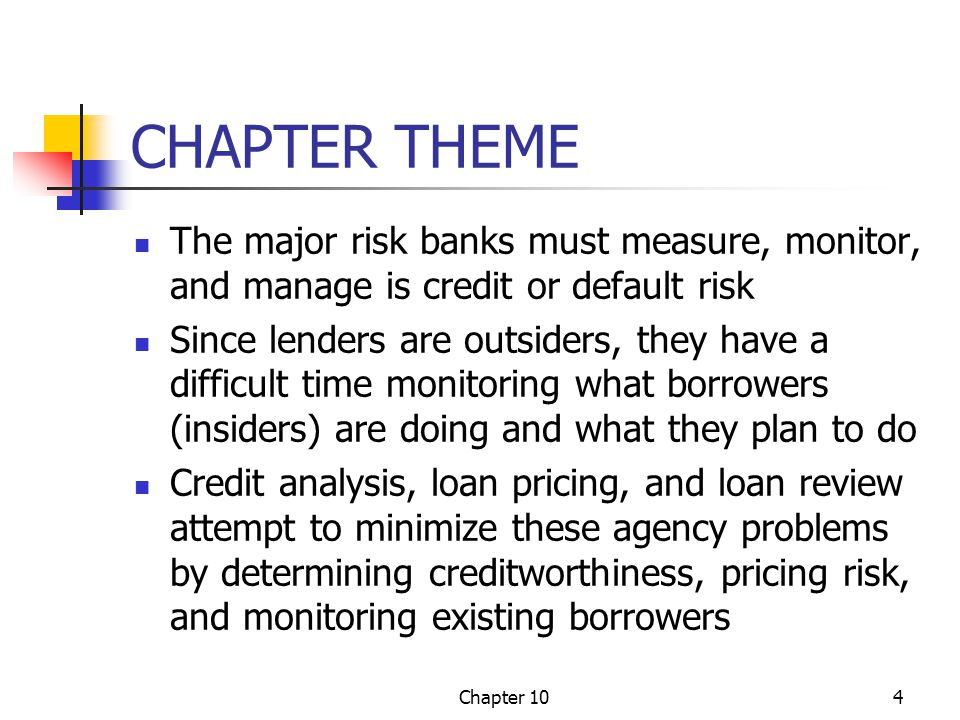 Chapter 104 CHAPTER THEME The major risk banks must measure, monitor, and manage is credit or default risk Since lenders are outsiders, they have a di