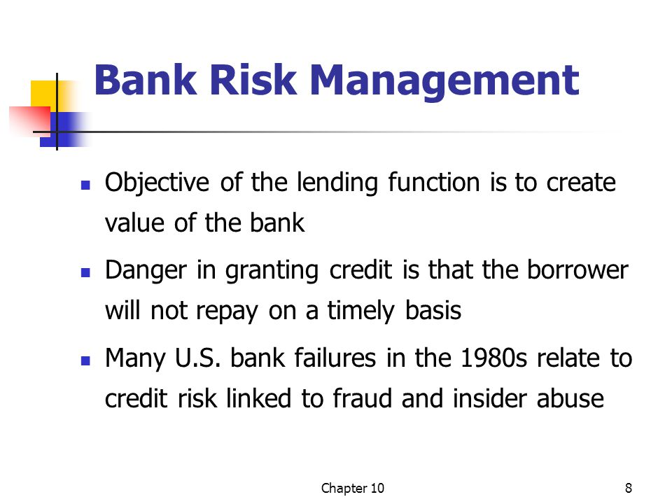 Chapter 109 How the Stock Market Views Credit Risk Banks with lower loan losses have higher stock prices and vice versa Box 10-1, p.