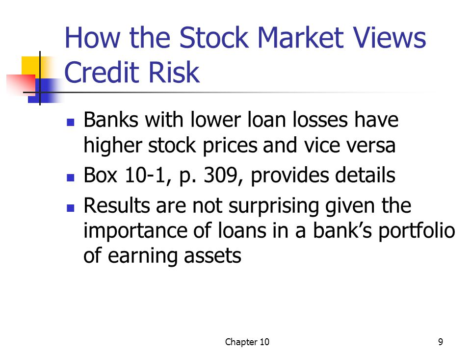 Chapter 109 How the Stock Market Views Credit Risk Banks with lower loan losses have higher stock prices and vice versa Box 10-1, p. 309, provides det