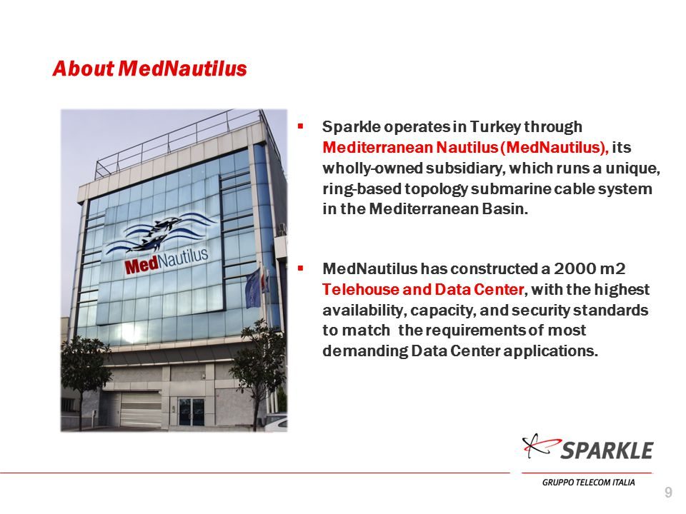 About MedNautilus  Sparkle operates in Turkey through Mediterranean Nautilus (MedNautilus), its wholly-owned subsidiary, which runs a unique, ring-ba