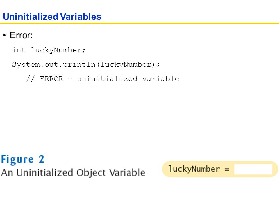 Error: int luckyNumber; System.out.println(luckyNumber); // ERROR – uninitialized variable Uninitialized Variables