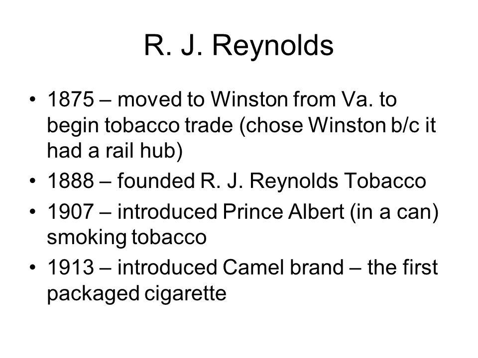RJR's nephew, Richard S.Reynolds, Sr., –In 1919, founded the U.S.