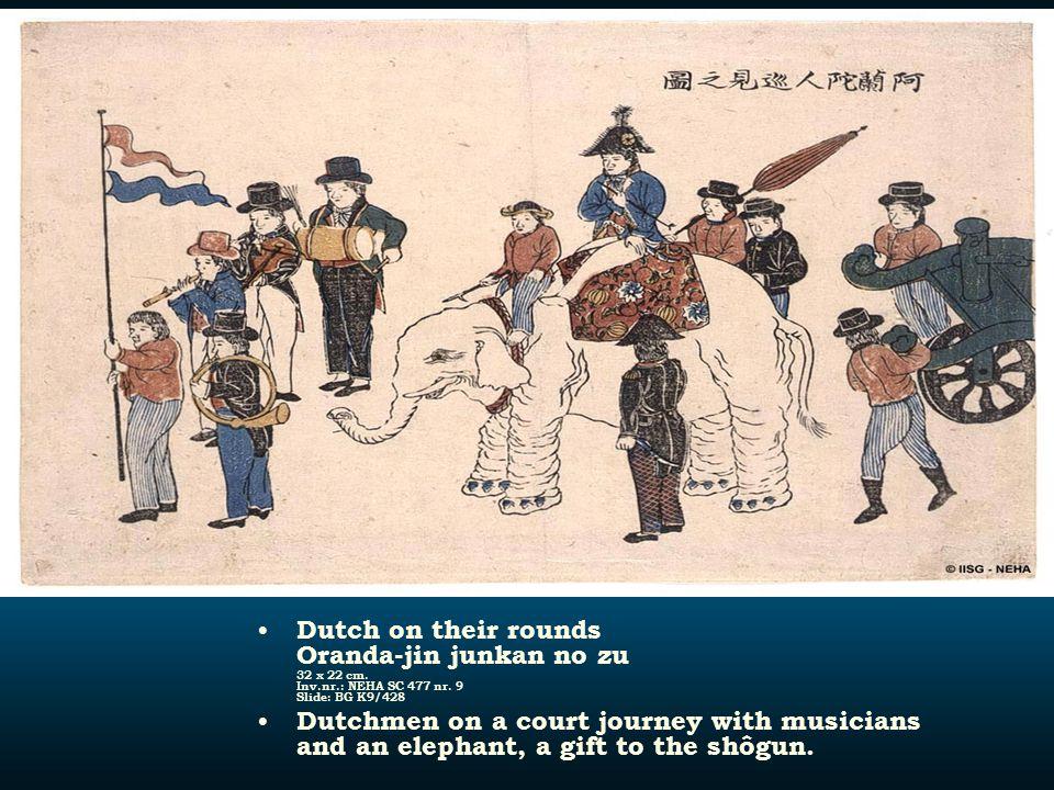 Dutch on their rounds Oranda-jin junkan no zu 32 x 22 cm. Inv.nr.: NEHA SC 477 nr. 9 Slide: BG K9/428 Dutchmen on a court journey with musicians and a