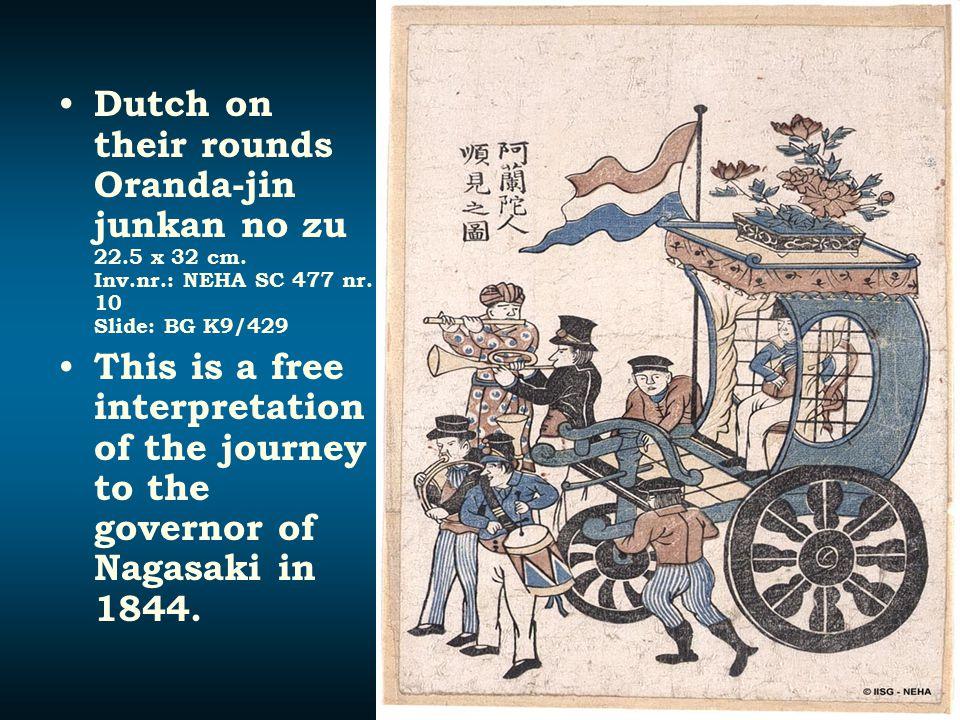 Dutch on their rounds Oranda-jin junkan no zu 22.5 x 32 cm. Inv.nr.: NEHA SC 477 nr. 10 Slide: BG K9/429 This is a free interpretation of the journey