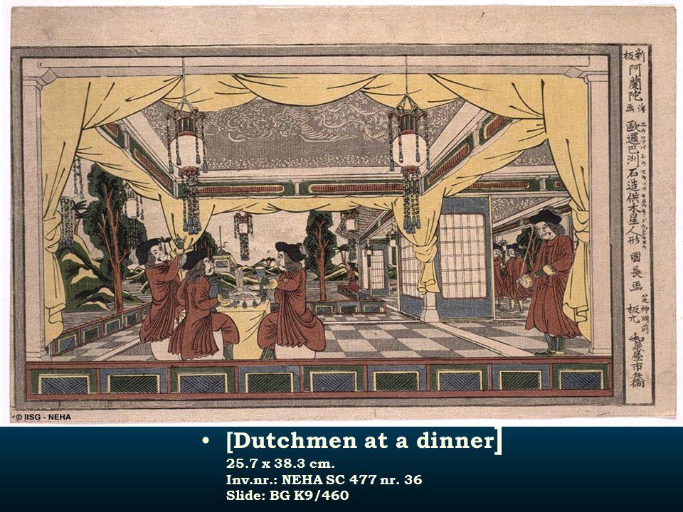 [Dutchmen at a dinner ] 25.7 x 38.3 cm. Inv.nr.: NEHA SC 477 nr. 36 Slide: BG K9/460