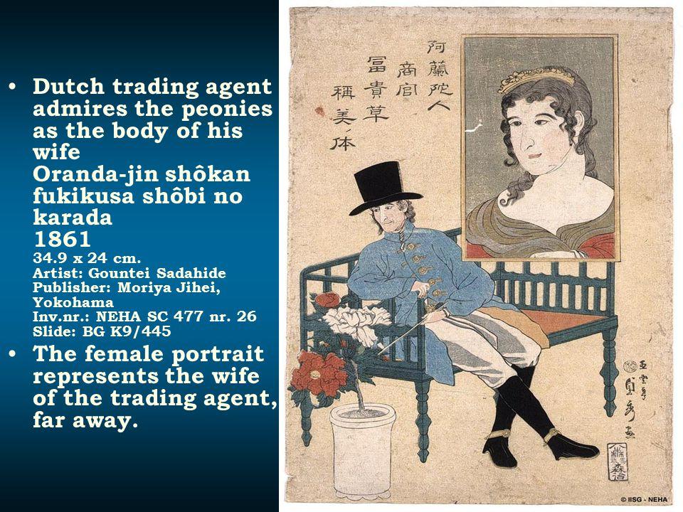 Dutch trading agent admires the peonies as the body of his wife Oranda-jin shôkan fukikusa shôbi no karada 1861 34.9 x 24 cm. Artist: Gountei Sadahide