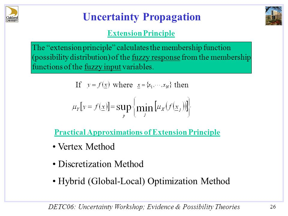 DETC06: Uncertainty Workshop; Evidence & Possibility Theories 26 Uncertainty Propagation Extension Principle The extension principle calculates the membership function (possibility distribution) of the fuzzy response from the membership functions of the fuzzy input variables.