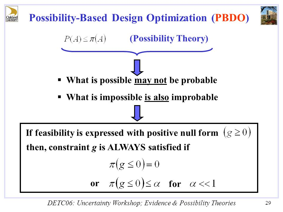 DETC06: Uncertainty Workshop; Evidence & Possibility Theories 29 (Possibility Theory)  What is possible may not be probable  What is impossible is also improbable If feasibility is expressed with positive null form then, constraint g is ALWAYS satisfied if for or Possibility-Based Design Optimization (PBDO)
