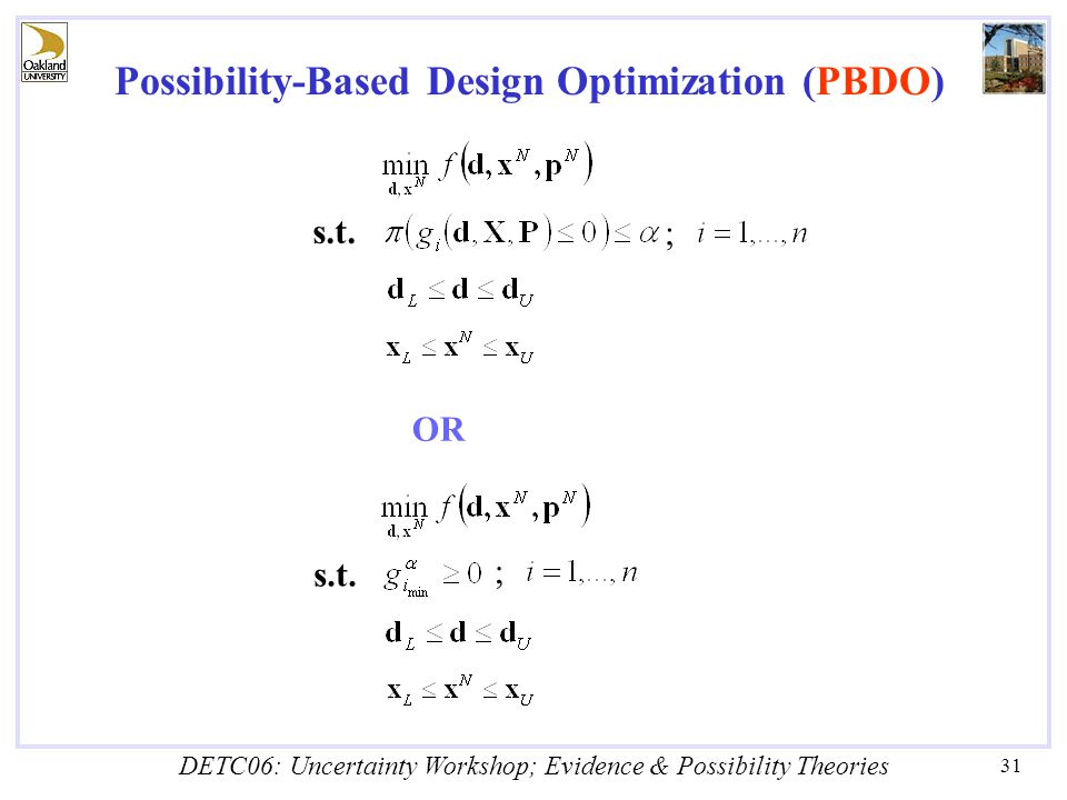 DETC06: Uncertainty Workshop; Evidence & Possibility Theories 31 Possibility-Based Design Optimization (PBDO) ; s.t.