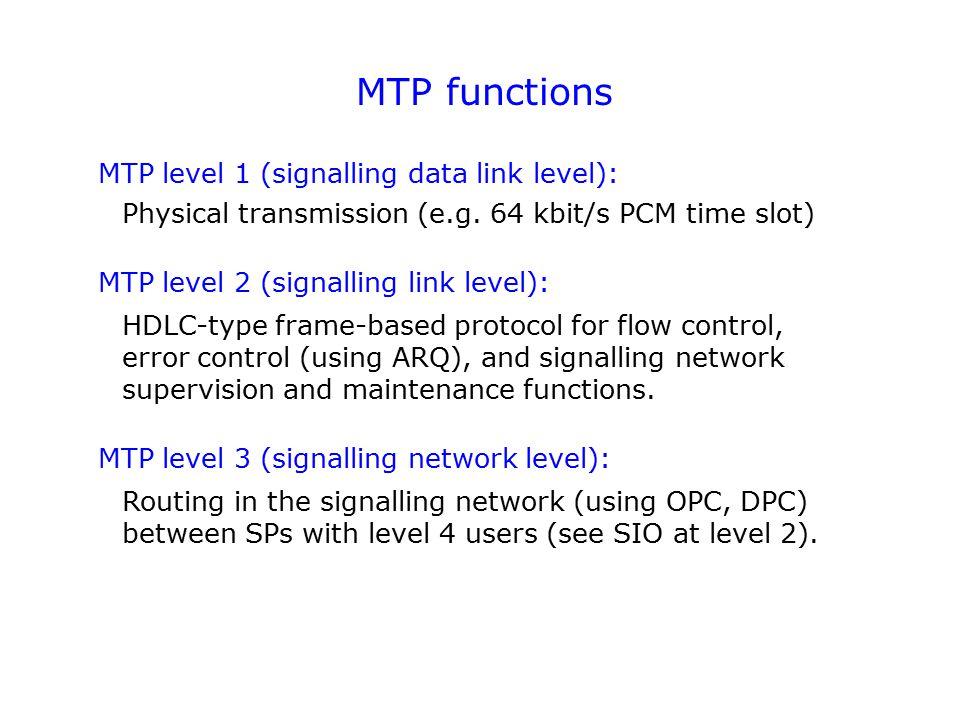 MTP functions MTP level 1 (signalling data link level): MTP level 2 (signalling link level): MTP level 3 (signalling network level): Physical transmis