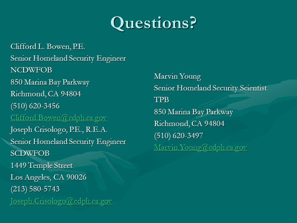 Questions. Clifford L. Bowen, P.E.