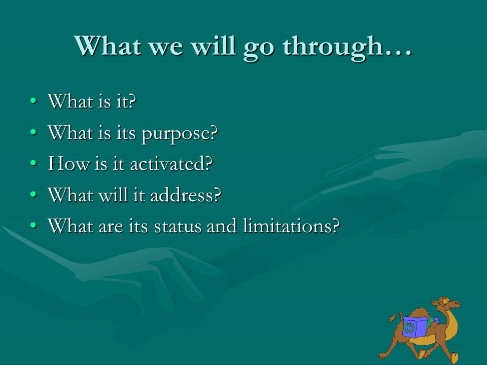 What we will go through… What is it What is it. What is its purpose What is its purpose.