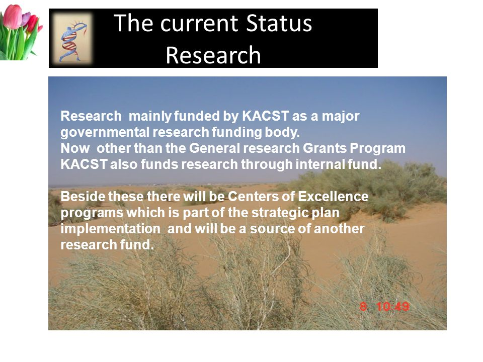 The current Status Research Research mainly funded by KACST as a major governmental research funding body.