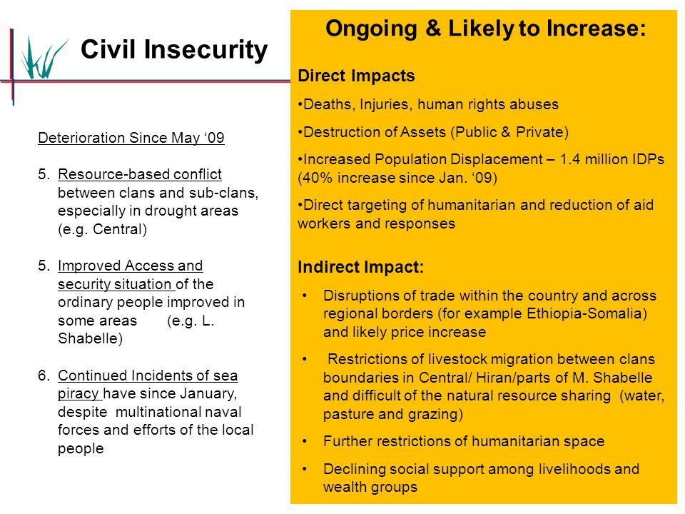 Civil Insecurity Deterioration Since May '09 5.Resource-based conflict between clans and sub-clans, especially in drought areas (e.g. Central) 5.Impro