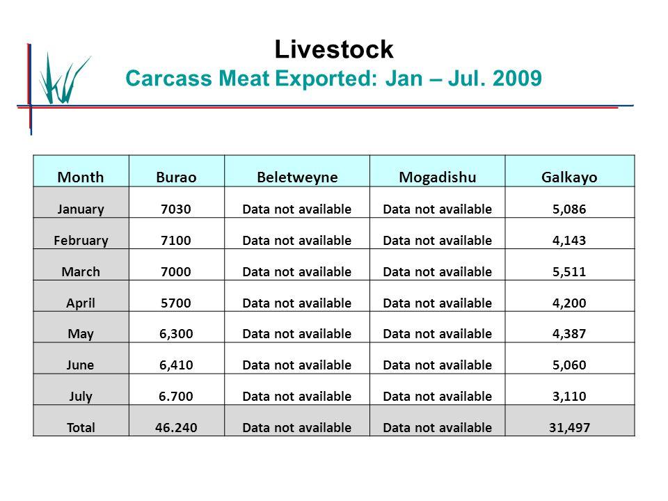 Livestock Carcass Meat Exported: Jan – Jul. 2009 MonthBuraoBeletweyneMogadishuGalkayo January7030Data not available 5,086 February7100Data not availab