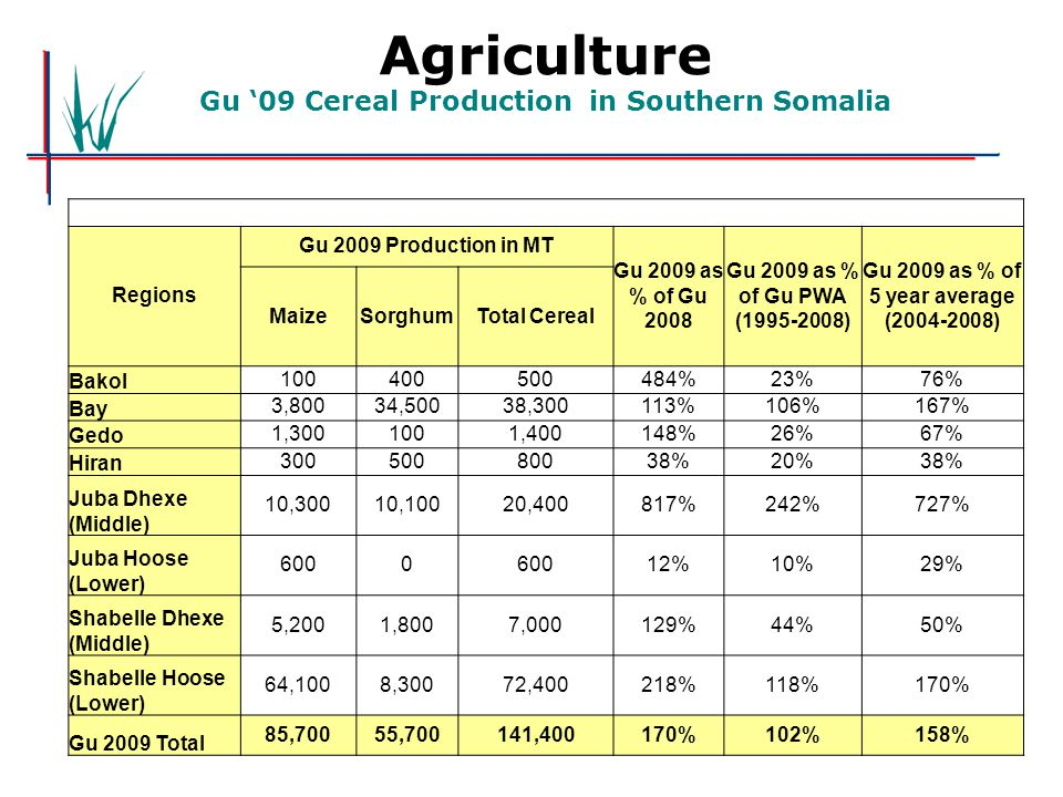 Agriculture Gu '09 Cereal Production in Southern Somalia Regions Gu 2009 Production in MT Gu 2009 as % of Gu 2008 Gu 2009 as % of Gu PWA (1995-2008) Gu 2009 as % of 5 year average (2004-2008) MaizeSorghumTotal Cereal Bakol 100400500484%23%76% Bay 3,80034,50038,300113%106%167% Gedo 1,3001001,400148%26%67% Hiran 30050080038%20%38% Juba Dhexe (Middle) 10,30010,10020,400817%242%727% Juba Hoose (Lower) 6000 12%10%29% Shabelle Dhexe (Middle) 5,2001,8007,000129%44%50% Shabelle Hoose (Lower) 64,1008,30072,400218%118%170% Gu 2009 Total 85,70055,700141,400170%102%158%