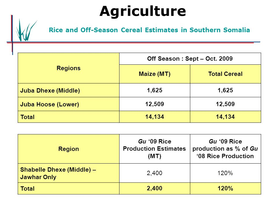 Gu'07 Cereal Prodction Estimates in Southern Somalia Agriculture Rice and Off-Season Cereal Estimates in Southern Somalia Regions Off Season : Sept –
